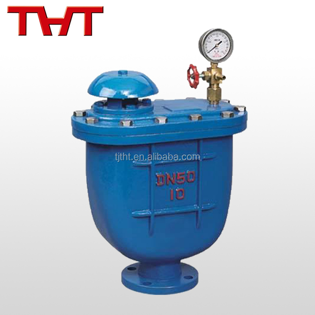 Cast ductile iron flange combined air release valve with pressure gauge