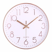 12 inch Rose Gold Living Room 3D Plastic Wall Clock