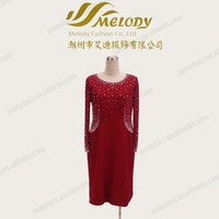 Red long sleeve beaded short formal lady elegant dress for fat mother