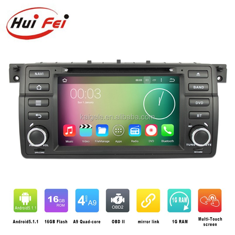 Hot sale touch screen android 5.1.1 bluetooth car video interface for BMW E46 M3 android radio gps navigation with Mirror link