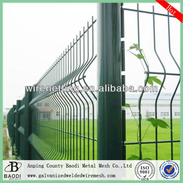 Curved PVC coated welded mesh panel fencing