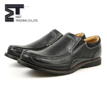Top quality professional black leather flat loafer dress shoes