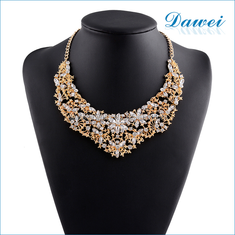 fashion gold plating crystal statement choker necklace jewelry in mexico