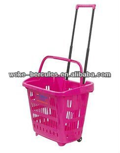 28L Supermarket Rolling Basket With 4 PCS Wheels