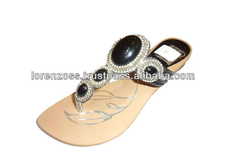 Flat Ladies sandals with BLACK stones