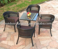 round aluminum rattan cyber cafe furniture cafe coffee table for sale
