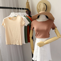 Women Summer Fashion Korea cotton and spendax Solid color T Shirt