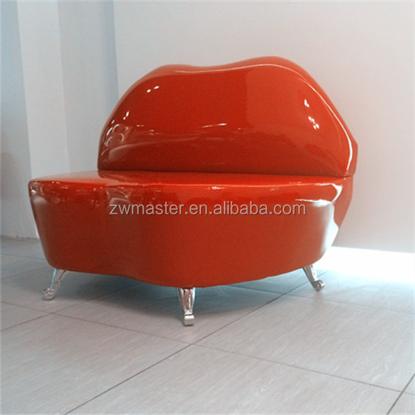 modern mouth shape glossy PU kiss red lip sofa chair