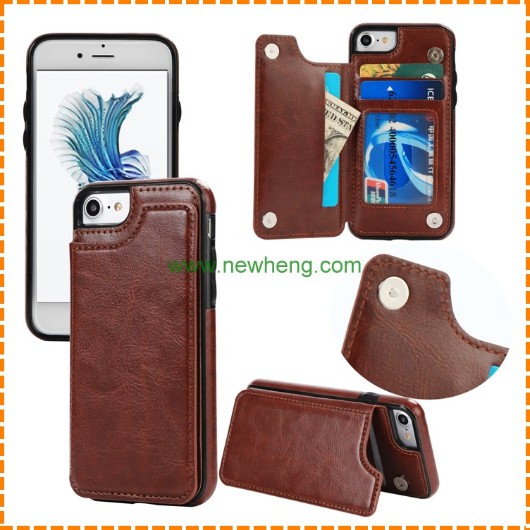 Crazy horse grain stand magnet wallet stand pu leather soft tpu phone case for iphone6 /6s plus