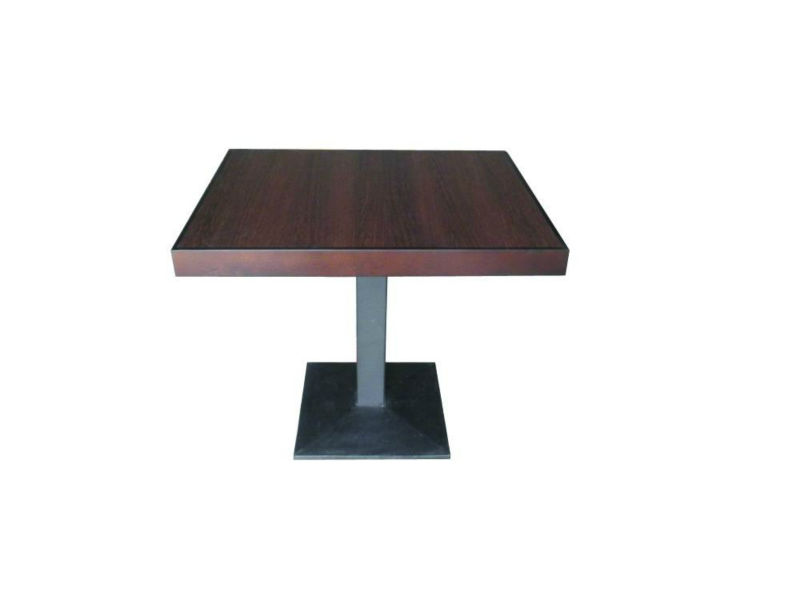 Modern restaurant 2person wooden dining table with black metal leg and melamine top TA-083