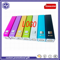 custom promotional gift aliminum power banks charger 2600mah