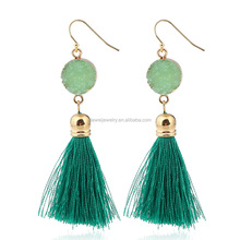 Fashion Trendy Wire Tassel Pendant Earrings For Young Girl