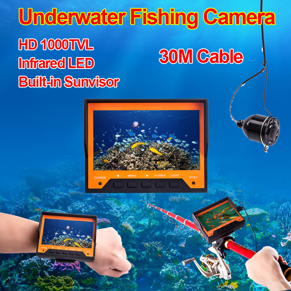 "4.3"" TFT LCD Portable Fish Finder 1000TVL HD Fishing Infrared Camera W/Sunshield"