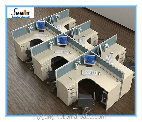 Wooden office staff computer table curved 6 person workstation
