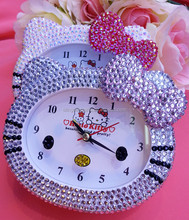 45 colors Mixed wholesale Fashion Lovely Kitty diamante clock cute alarm clock