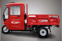 Loncin 300cc /600cc /800cc heavy load motorized semi closed truck tricycle/3 wheeler with handle bar in cab