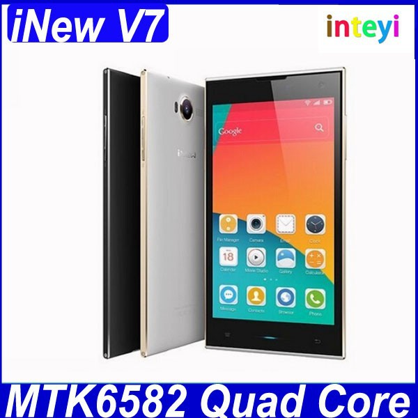 Original 5.0 Inch IPS Screen iNew V7 Smartphone Android 4.4 MTK6582 Quad Core Mobile Phone 2GB 16GB Dual SIM Card