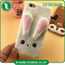 New stylish lovely silicone+plush deer/rabbit design mobile cover for iphone 6 case