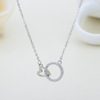 925 sterling silver heart circle diamond CZ paved wheel pendant rose gold chain necklace for ladies and girlfriend