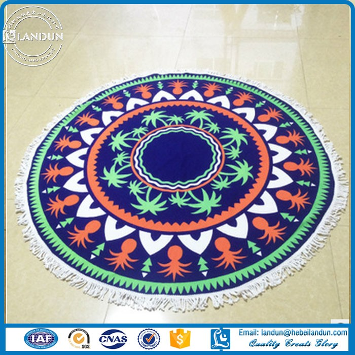 100% cotton round beach towels mandala with tassels