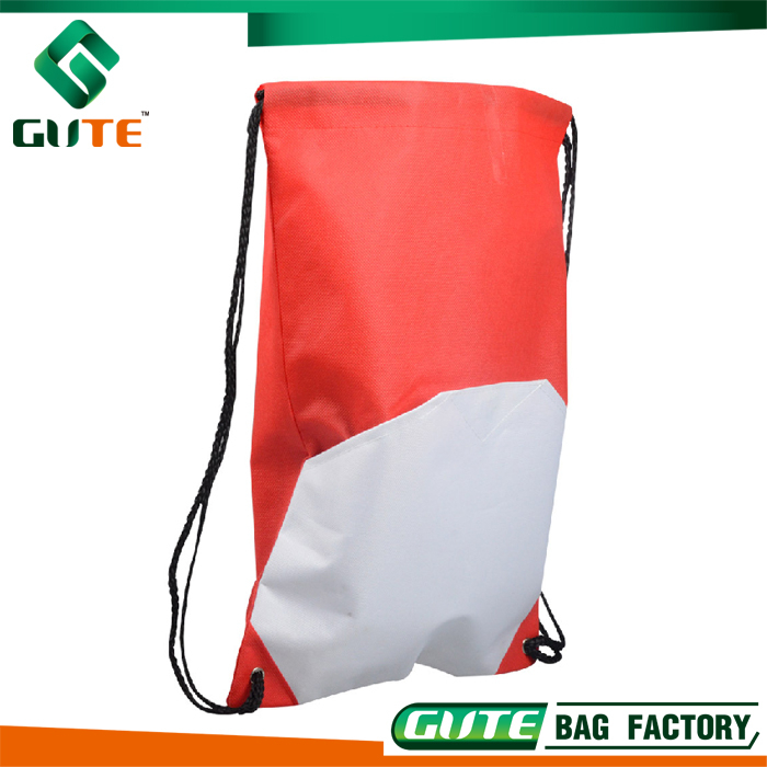 Red Recyclable Polyester Drawstring Bag