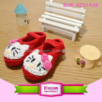 Baby red with cat handmade design wool baby's shoes fabric