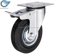 Top Plate Swivel Black Rubber Industrial Caster With Brake,Roller Bearing