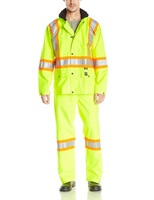 Mens denier nylon work Storm Suit with two front patch pockets and snap closures High Visibility coat suit