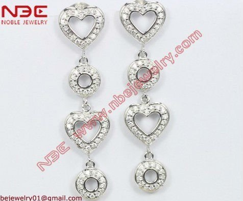 Factory artisan crafted italian hot sale cheap costume 925 silver earrings with quality rhodium, AAA grade pure clear white cz
