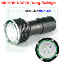 Hot sale Archon D32VR Cree XM-L U2 LED + CREE XP-E N3 LED RED White Diving Flashlight