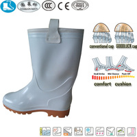 rigger style white yellow pvc fashionable safety boots for women