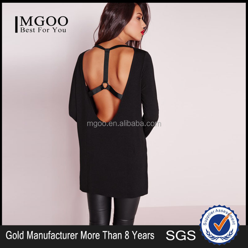 MGOO Women Harness Back Top Black Split Side Longline Tee Long Sleeve Cut Out Back Cross Straps Oversized Cotton T-Shirt