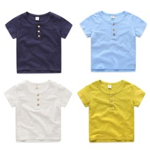 Wholesale Children Boys Casual Solid Color Short Sleeve Cotton Child T Shirts