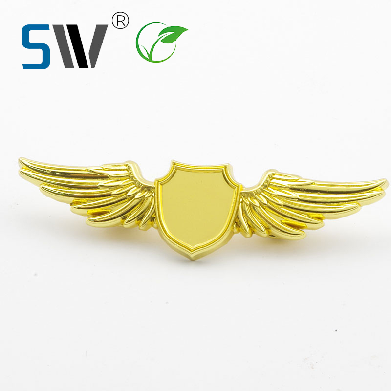blank <strong>custom</strong> 3D golden die casting pilot wing laple pin metal badge