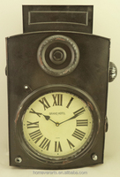 Antique black iron wall clock in camera shape
