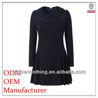 Famous brand clothes ladies' close-fitting pleated black cheap sexy womens clothing with horse-hoof sleeves