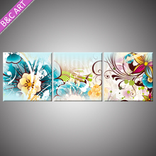 3D wall Painting Restaurant Interior Decoration Design Plum Colored Artificial Flowers