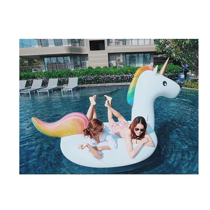 promotion inflatable unicorn/horse pool toy 75 Inch Giant unicorn swimming float/Colorful horse water bed Summer Swimming Party