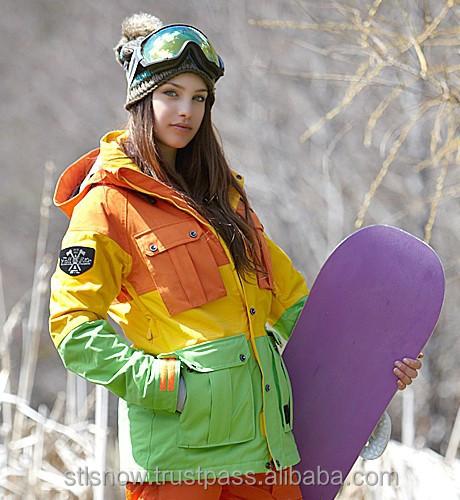 2014/2015 High quality waterproof 20000mm ski & snowboard jacket, Opera Orange/Yellow/Lime