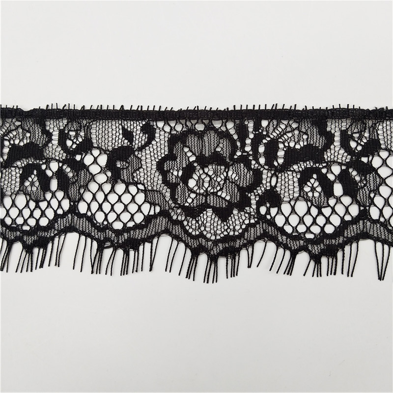 6cm 100%nylon black eyelash lace trim