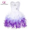 Grace Karin Strapless Sweetheart White & Purple Short Puffy Cocktail Dresses CL4977-3