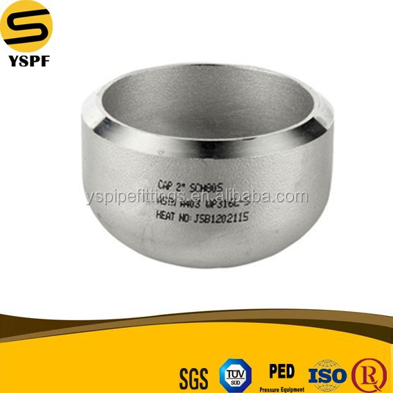 Stainless Steel Pipe Fitting Seamless Butt Welding BW Round Cap