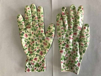 Transparent nitrile palm coated printed garden gloves