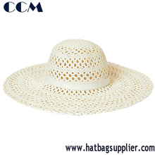 Beige Flat Ladies Summer Straw Hat With Plain Ribbon
