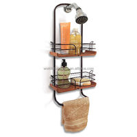 Popular Design Teak And Oil Rubbed Bronze Shower Caddy
