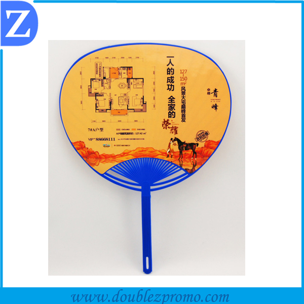 plastic advertising promotional PVC hand fan with custom printed Logo