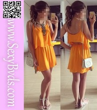 Wholesale Yellow Women Chiffon Leisure Casual Dress