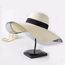 wholesale cheap women straw wide brim hat summer beach floppy drinking straw hat with mesh decorate