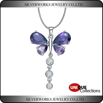 New Products 2016 Silver 925 Butterfly Dangle Pendant With Purple Gemstone