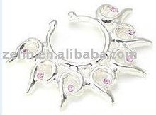 charming jeweled nipple rings in shape of crown body piercing jewelry